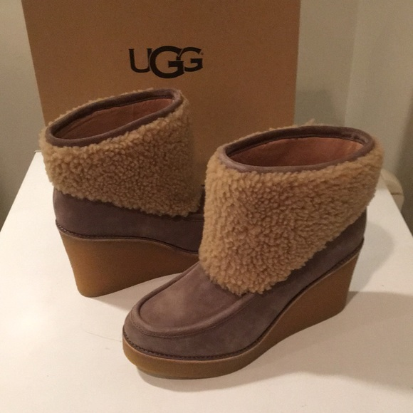 4306e8e1224 New Ugg Coldin Wedge Bootie boots Clr mouse 11 🎁 NWT